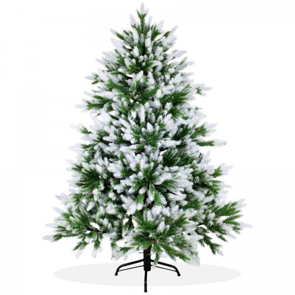 Künstlicher Weihnachtsbaum 150cm DeLuxe PE Spritzguss, beschneiter Tannenbaum Nordmanntanne, Christbaum