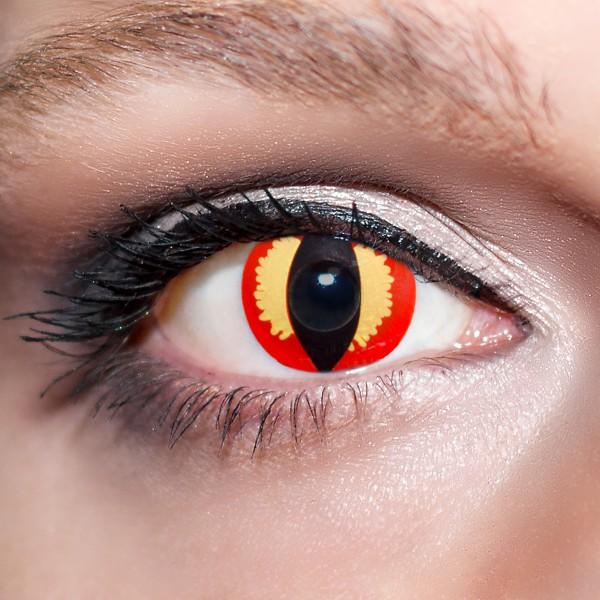 Rote / Gelbe Kontaktlinsen farbige Katzenaugen Motivlinsen Drachenaugen rot von KwikSibs, intensiv
