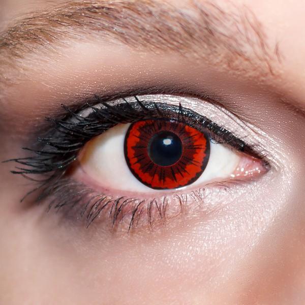 Rote Kontaktlinsen farbige Parasitenaugen Motivlinsen rot von KwikSibs, intensiv