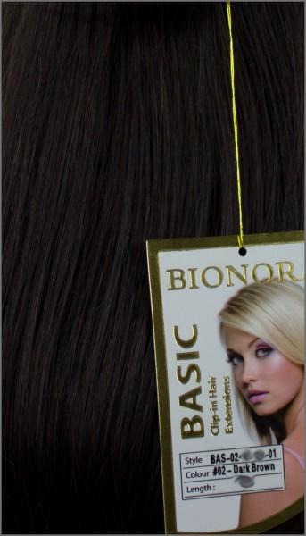 Clip-in Haar Extensions, BIONORA BASIC, #02, Dunkelbraun, 43/53/63cm, 70/80/90 Gramm