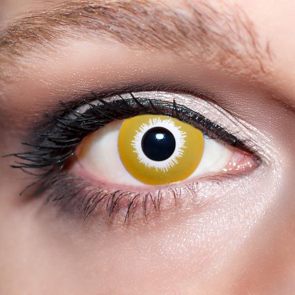 Gelbe Kontaktlinsen farbige Wolfsaugen Motivlinsen gelb von KwikSibs, intensiv