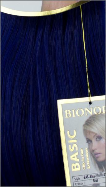 Clip-in Haar Extensions mit Echthaar, Blau, BASIC von BIONORA, 43/53/63cm, 70/80/90 Gr.
