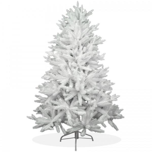 Künstlicher Weihnachtsbaum 150cm PE Spritzguss schneeweißer Premium Tannenbaum Nordmanntanne Christbaum