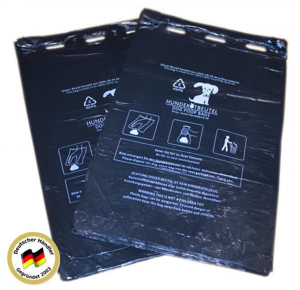 200 Stück Hundekotbeutel (2 Blöcke á 100 Beutel), zum Aufhängen, schwarz in 21 x 31,5 cm + 3,5cm
