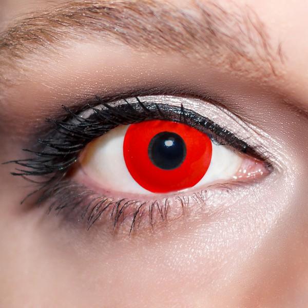 Rote Kontaktlinsen farbige Zombieaugen komplett rot Motivlinsen von KwikSibs, intensiv