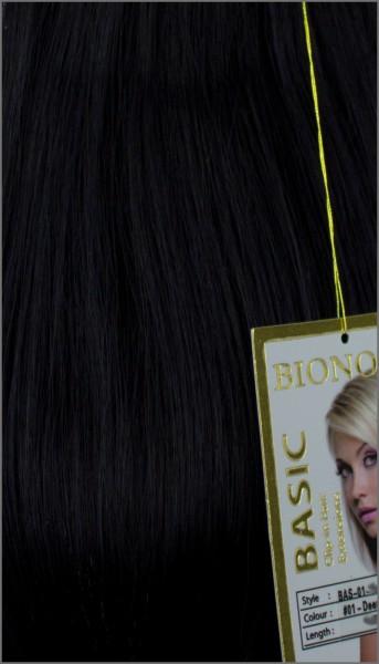 Clip-in Haar Extensions, BIONORA BASIC, #01, Tiefschwarz, 43/53/63cm, 70/80/90 Gramm