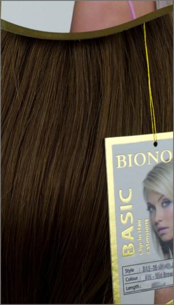 Clip-in Haar Extensions, BIONORA BASIC, #06, Mittelbraun, 43/53/63cm, 70/80/90 Gramm