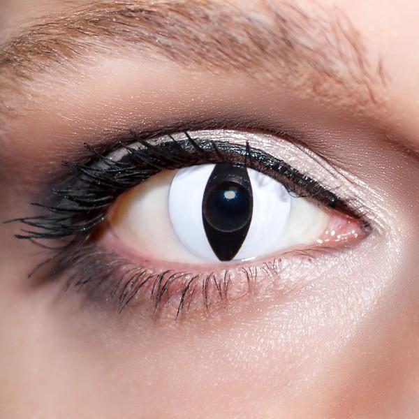 Weiße Kontaktlinsen farbige Viper-Schlangenaugen Katzenaugen Motivlinsen weiß von KwikSibs, intensiv