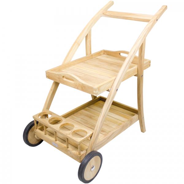 Teak Servierwagen -Noura- aus Echt-Teakholz, mit abnehmbaren Tablett und Edelstahl Achsen