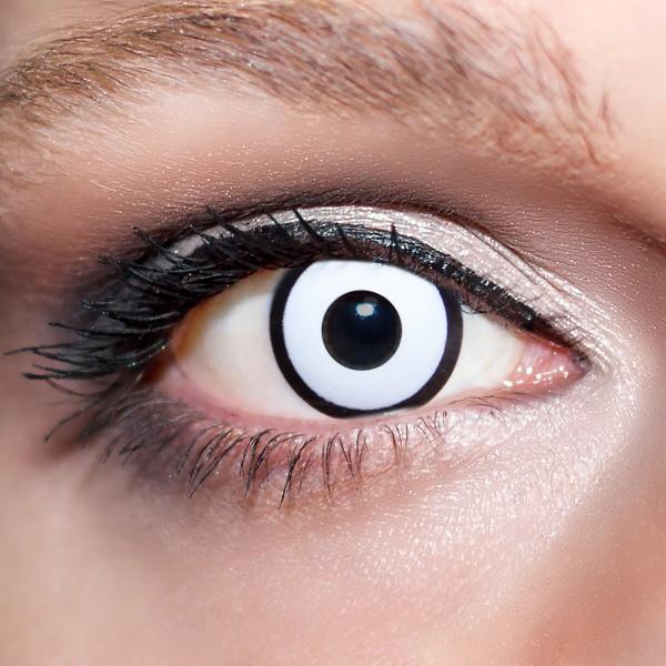 Weiße Kontaktlinsen farbige Zombiaugen Motivlinsen weiß von KwikSibs, intensiv