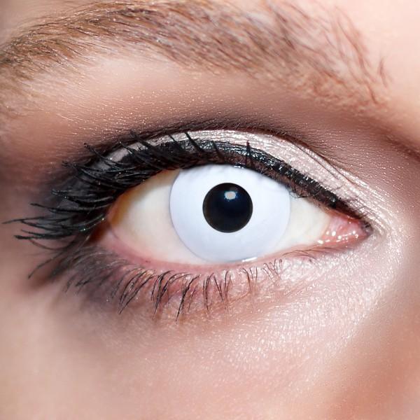 Weiße Kontaktlinsen farbige Zombieaugen Motivlinsen komplett weiß von KwikSibs, intensiv