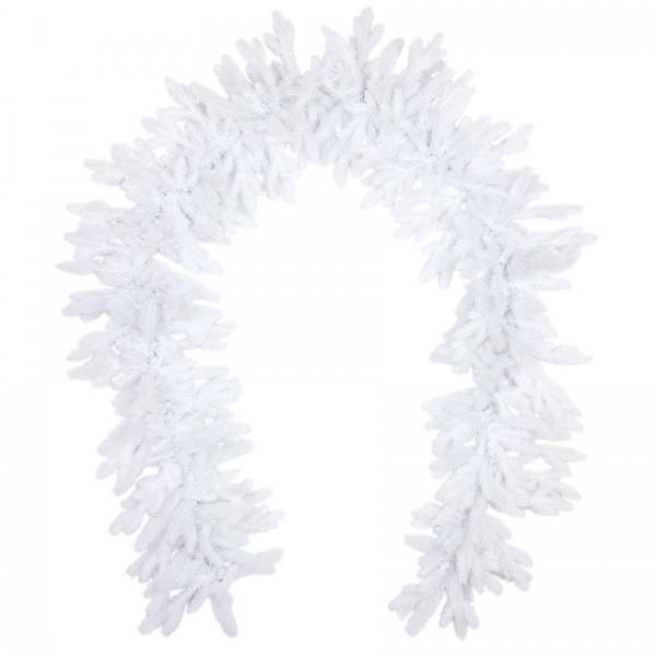 Künstliche Tannengirlande 270cm lang in Premium Spritzguss Qualität, schneeweiße Nordmann Girlande