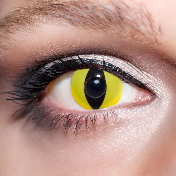 Gelbe Kontaktlinsen farbige Katzenaugen Motivlinsen Vampiraugen gelb von KwikSibs, intensiv