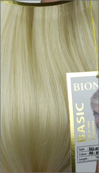 Clip-in Haar Extensions, BIONORA BASIC, #60, Weißblond, 43/53/63cm, 70/80/90 Gramm