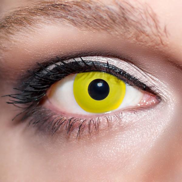 Gelbe Kontaktlinsen farbige Vampiraugen Motivlinsen gelb von KwikSibs, intensiv