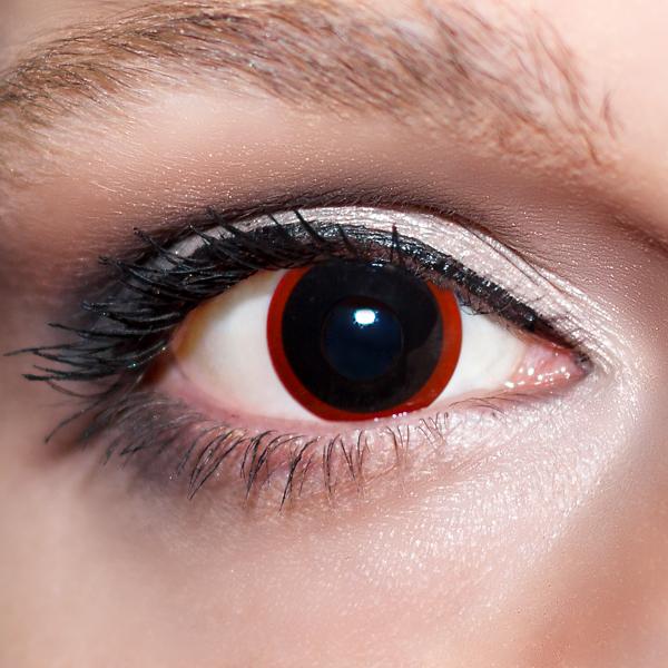 Schwarze Kontaktlinsen farbige Hexenaugen schwarz / rote Motivlinsen von KwikSibs, intensiv