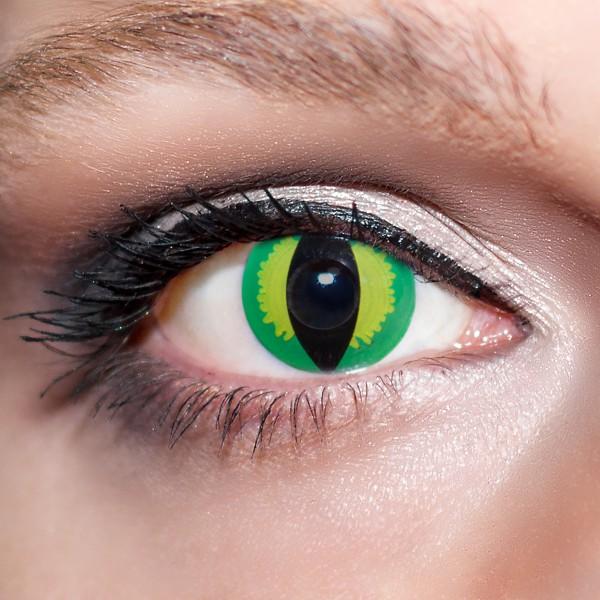 Grüne / Gelbe Kontaktlinsen farbige Katzenaugen Motivlinsen Drachenaugen grün von KwikSibs, intensiv