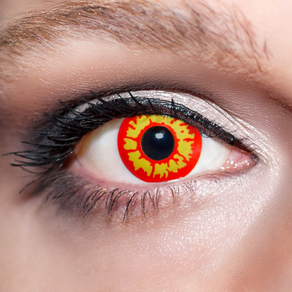 Rote / Gelbe Kontaktlinsen farbige Werwolfsaugen Motivlinsen rot / gelb von KwikSibs, intensiv