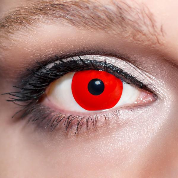 Rote Kontaktlinsen farbige Zombieaugen Motivlinsen komplett rot von KwikSibs, intensiv