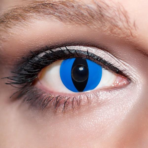 Blaue Kontaktlinsen farbige Katzenaugen Motivlinsen blau von KwikSibs, intensiv