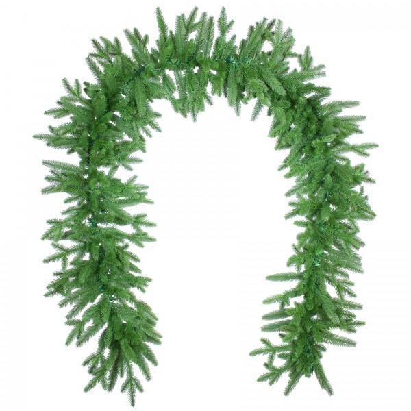 Künstliche Tannengirlande 270cm lang in Premium Spritzguss Qualität, grüne Girlande (Nordmanntanne)