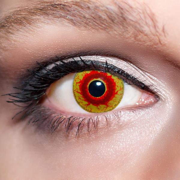 Rote Kontaktlinsen farbige Dämonenaugen rot / gelbe Motivlinsen von KwikSibs, intensiv