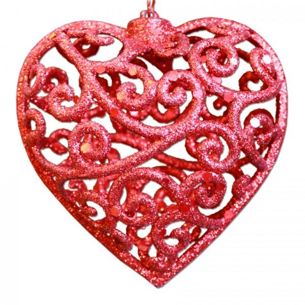 Glitzerherz 3D, rotes Herz, Glitzerherzen als Baumschmuck, rote Herzen aus PVC