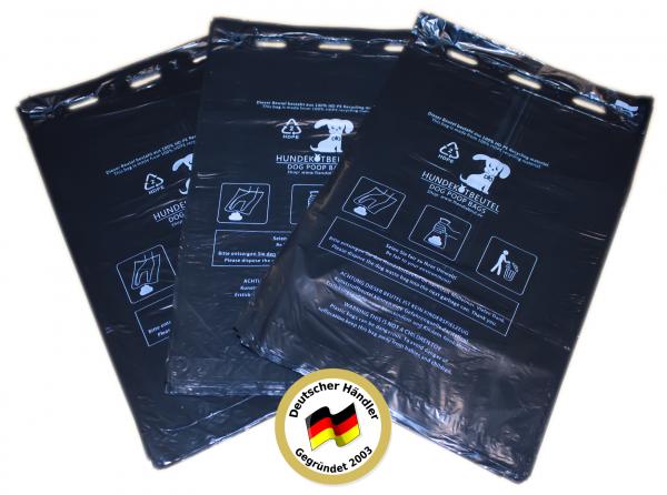300 Stück Hundekotbeutel (3 Blöcke á 100 Beutel), zum Aufhängen, schwarz in 21 x 31,5 cm + 3,5cm