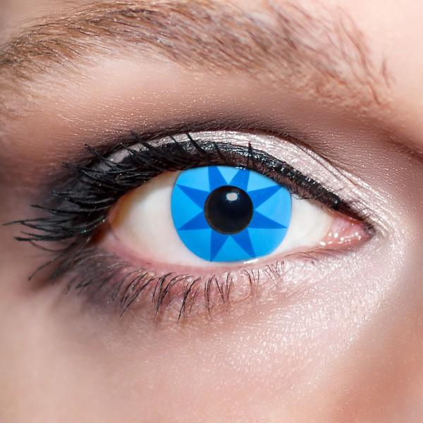 Blaue Kontaktlinsen farbige Sternaugen Motivlinsen blau von KwikSibs, intensiv