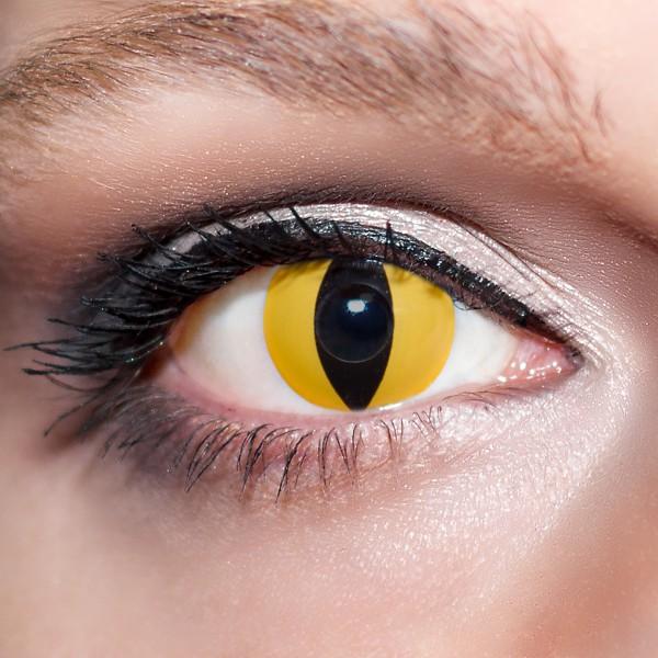 Orange / Gelbe Kontaktlinsen farbige Vampiraugen Motivlinsen gelb von KwikSibs, intensiv