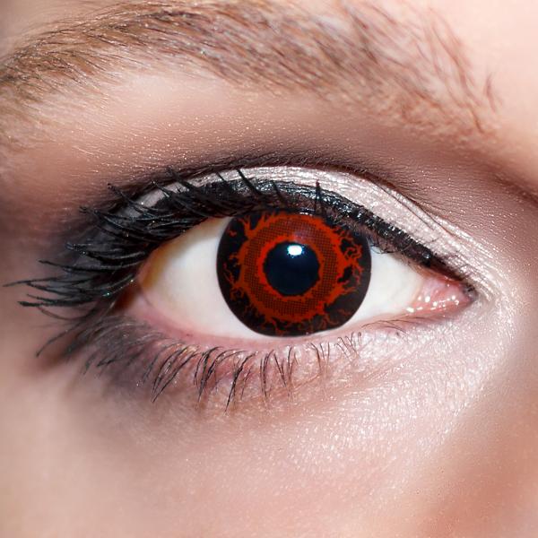 Rote Kontaktlinsen farbige Dämonenaugen rot / schwarze Motivlinsen von KwikSibs, intensiv