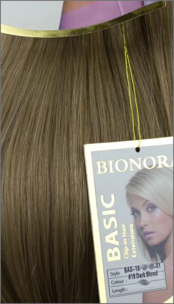 Clip-in Haar Extensions Haarverlängerung mit Echthaar, #18, Dunkelblond, 40 50 60+cm, BASIC, BIONORA