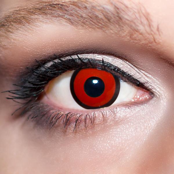 Rote Kontaktlinsen farbige Zombieaugen rot / schwarze Motivlinsen von KwikSibs, intensiv