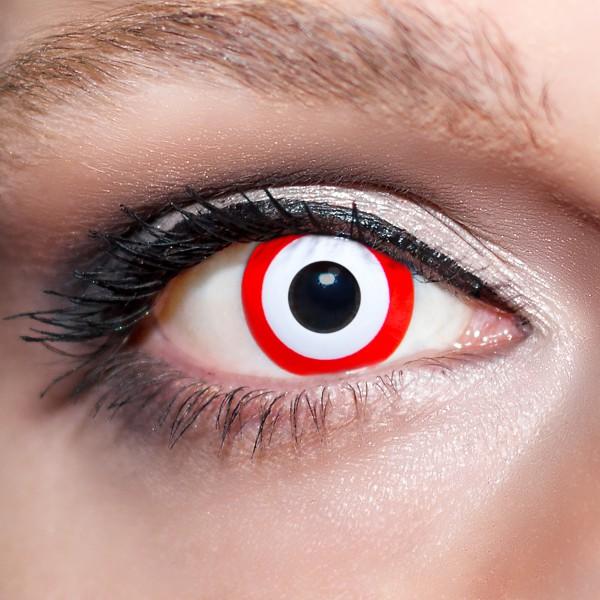 Rote / Weiße Kontaktlinsen farbige Zombieaugen Zielscheiben Motivlinsen rot von KwikSibs, intensiv