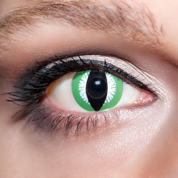 Grüne / Weiße Kontaktlinsen farbige Drachenaugen Katzenaugen Motivlinsen Schlangenaugen, intensiv