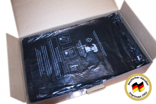 12000 Stück Hundekotbeutel (120 Blöcke á 100 Beutel), zum Aufhängen, schwarz in 21 x 31,5 cm + 3,5cm