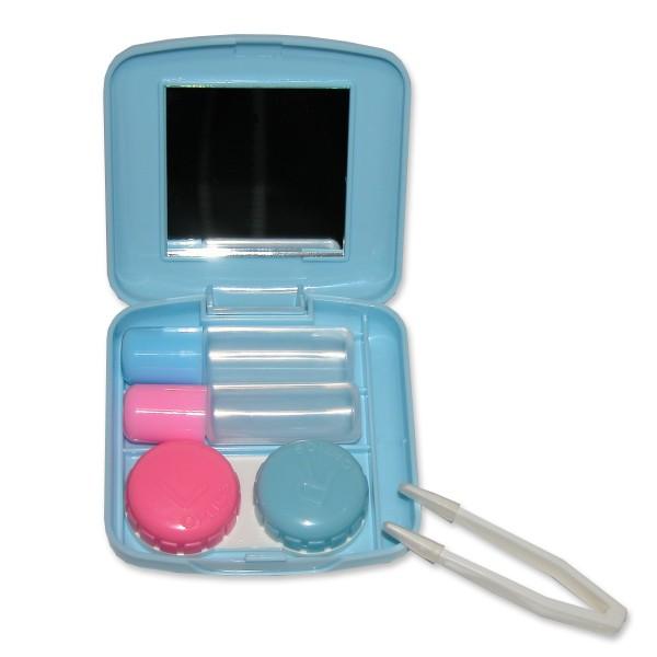 Kontaktlinsenpflegemittel-Set (Behälter) - mit Spiegel, Pinzette, Behälter, 2 (leere) Fläschchen
