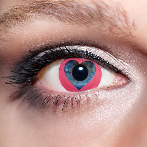 Pinke Kontaktlinsen farbige Herzaugen Motivlinsen rosa Valentinstag von KwikSibs, intensiv