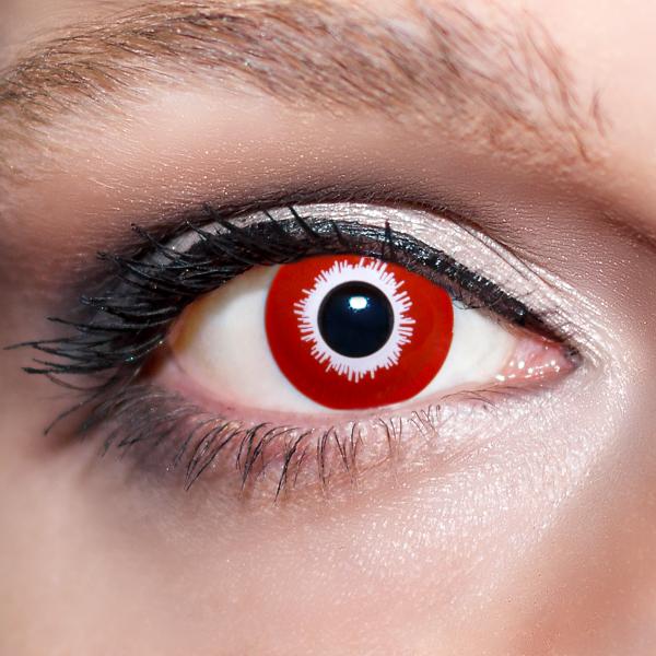 Rote Kontaktlinsen farbige Giftaugen rot / weisse Motivlinsen von KwikSibs, intensiv