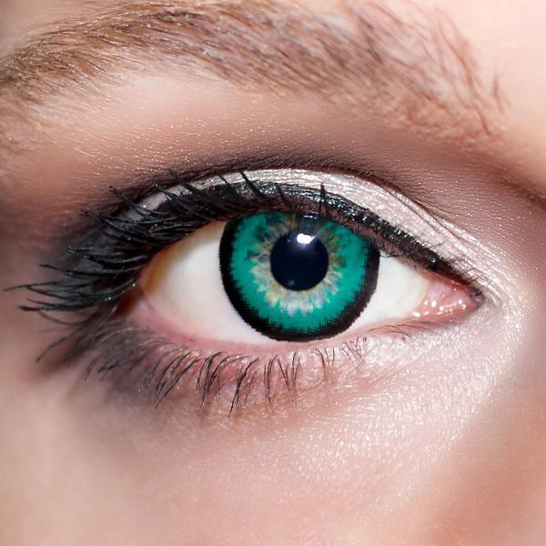 Grüne große Kontaktlinsen 15mm farbige smaragdgrüne Linsen Big Eyes Augen KwikSibs, auch mit Stärken