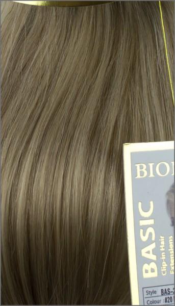 Clip-in Haar Extensions mit Echthaar, #20, Mittelblond, BASIC von BIONORA, 43/53/63cm, 70/80/90 Gr.