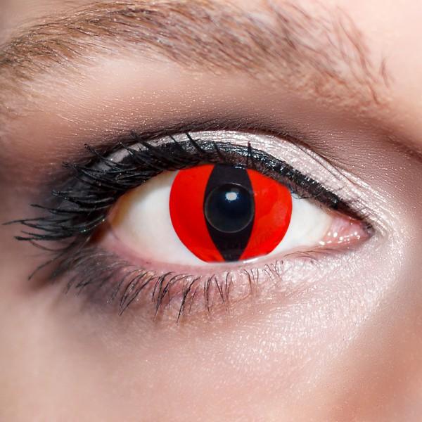 Rote Kontaktlinsen farbige Katzenaugen Motivlinsen Tigeraugen rot von KwikSibs, intensiv